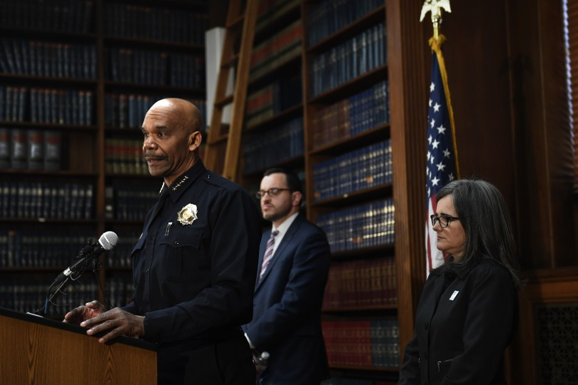 DENVER, WY - April 12: Denver Police Chief Robert White, speaking during a press conference to announce that a settlement has been reached with Jose Hernandez and Laura Sonia Rosales, parents of Jessica Hernandez, a 17-year-old shot and killed by police in July 2015 that also includes concessions designed to improve the relationship between the Denver Police Department and the city's Latino and gay youth at Parr Widener Room, Denver City County Building downtown. April 12, 2017, Denver, Colorado. (Photo by Joe Amon/The Denver Post)